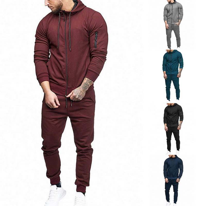 2 Pieces Mens Tracksuits 2019 New Long Sleeve Gyms Autumn Winter Casual Hooded Zipper Slim Tops + Drawstring Waist Loose Pants