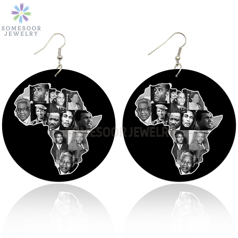 SOMESOOR Printing Black History Famous Leaders African Wooden Drop Earrings Afro Wood Dangle Jewelry For Women Christmas Gifts image