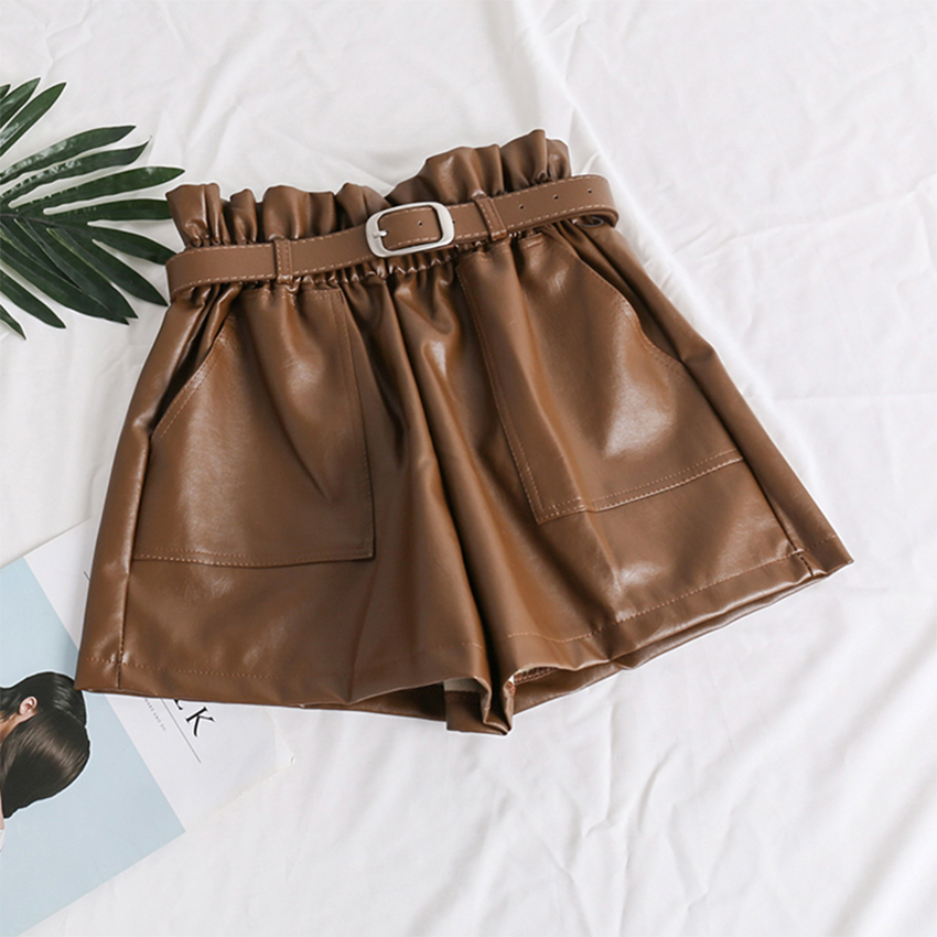 High Waist Elasticity PU Leather Shorts Women Fashion Cool Punk Sashes Short Pants Breathable Fashion Loose Elastic Waist Shorts