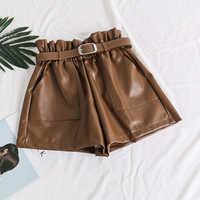 Hohe Taille Elastizität PU Leder Shorts Frauen Mode Coole Punk Schärpen Kurze Hosen Atmungs Mode Lose Elastische Taille Shorts