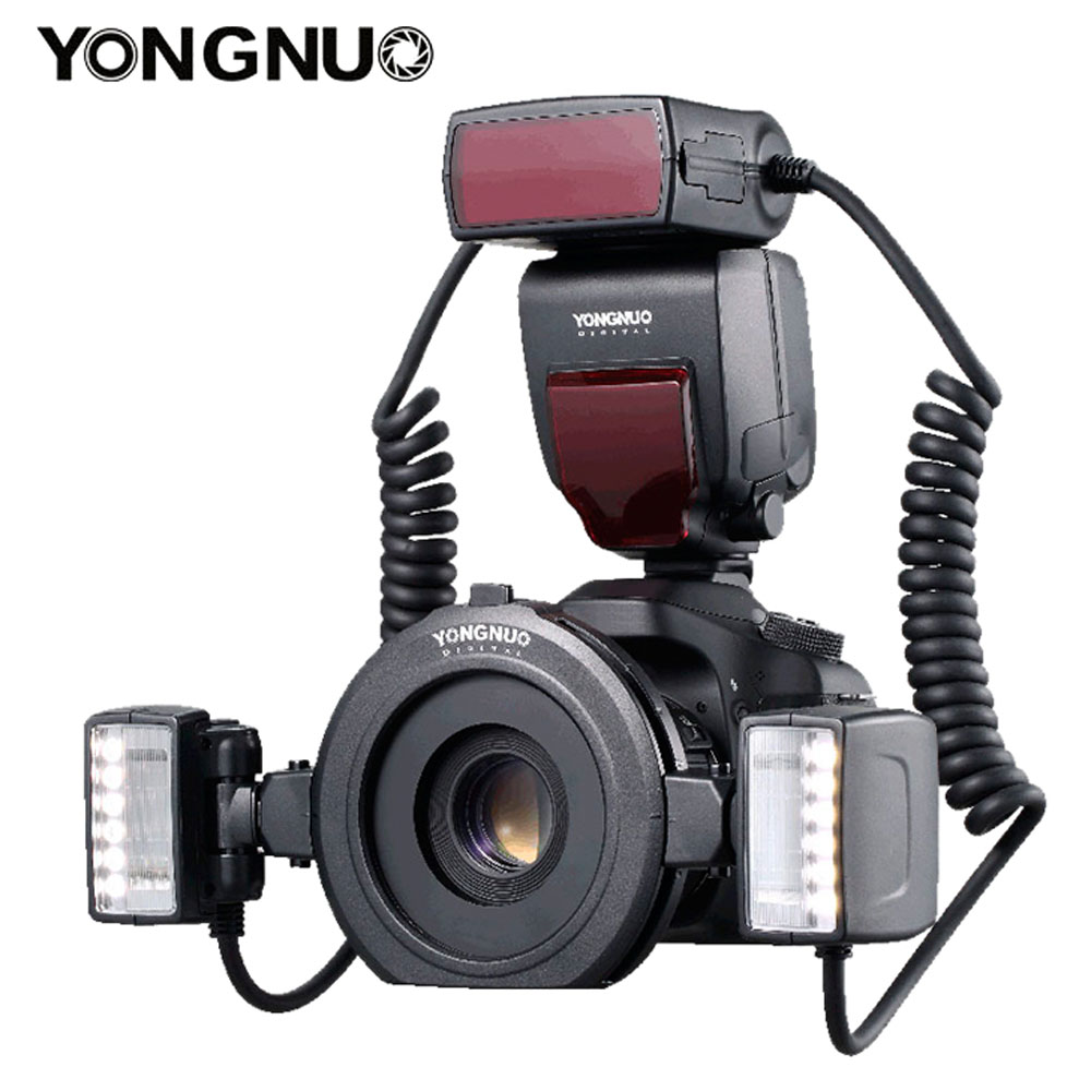 YONGNUO YN24EX YN24 EX Macro Anel de Flash Flash Speedlite com 2 E-TTL pcs Cabeças de Flash 4pcs Anéis Adaptadores para câmeras Canon EOS