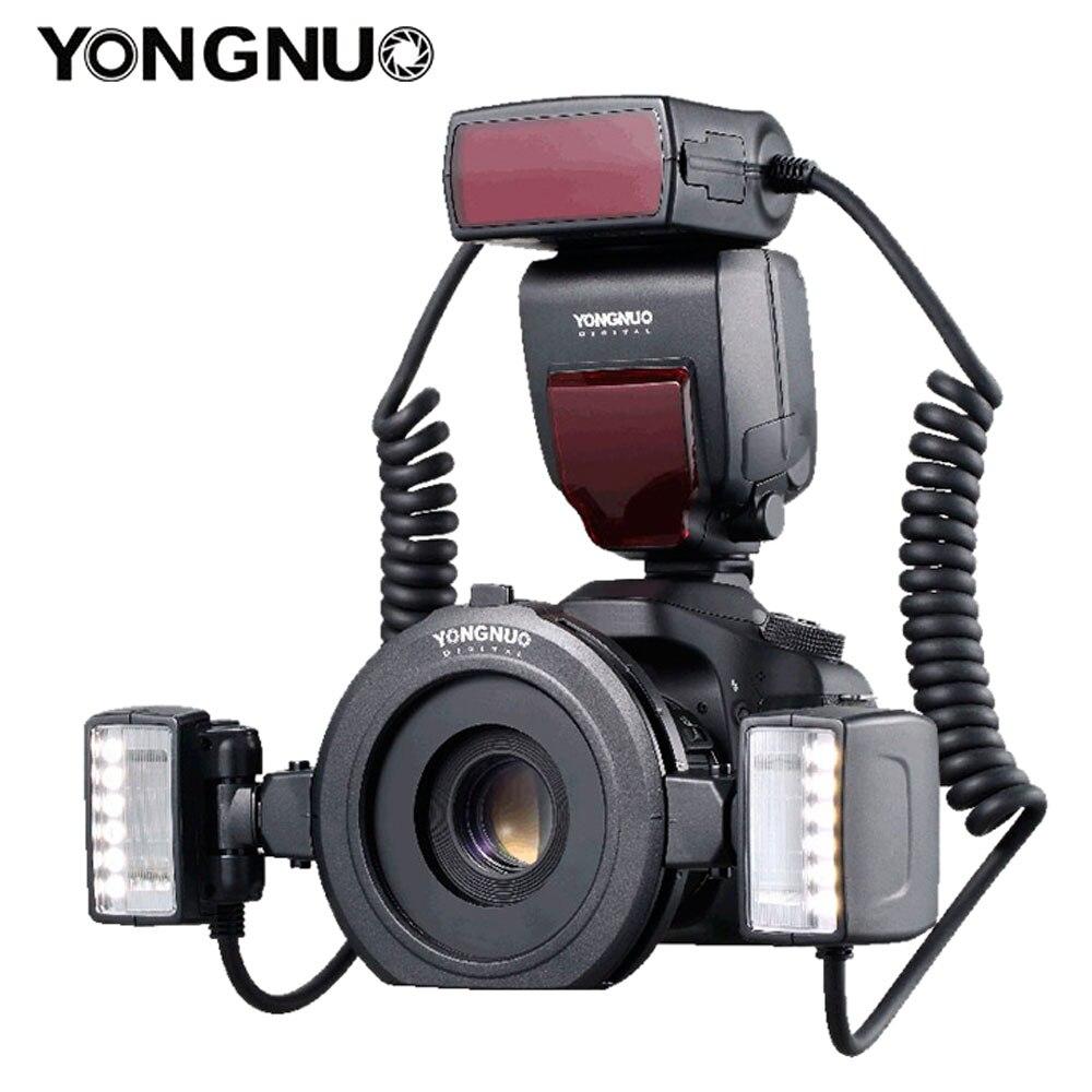 Yongnuo yn24ex yn24 ex anel macro flash E-TTL speedlite com 2pcs cabeças de flash 4pcs adaptador anéis para câmeras canon eos