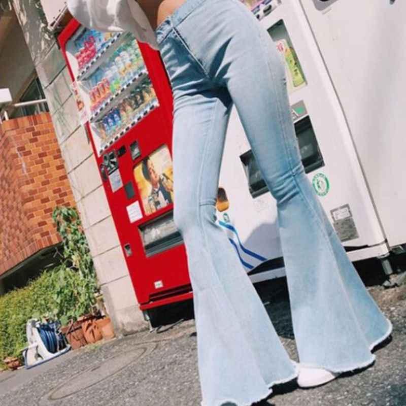 Bayan artı boyutu yüksek bel Flare sahte Denim dar pantolon Vintage alt çan ham Hem geniş bacak streç pantolon S-3XL