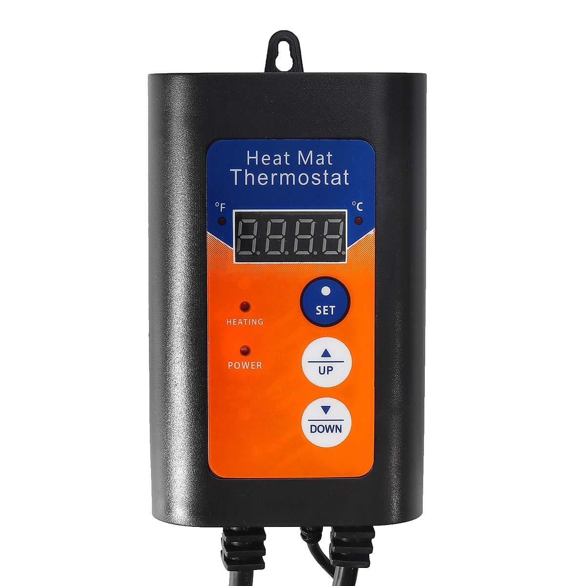 Термостат с цифровым тепловым матом, 1000 Вт, 230 В, регулятор температуры для гидропонных растений, семян, рептилий, товары для домашних животн...