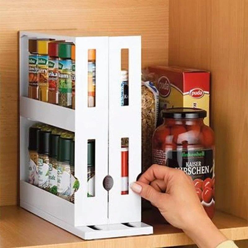 Nuevo estante organizador de especias de cocina estante giratorio de alimentos multifunción estante para almacenaje de cocina gabinete estante de almacenamiento de especias|Soportes y estanterías de almacenamiento|   - AliExpress
