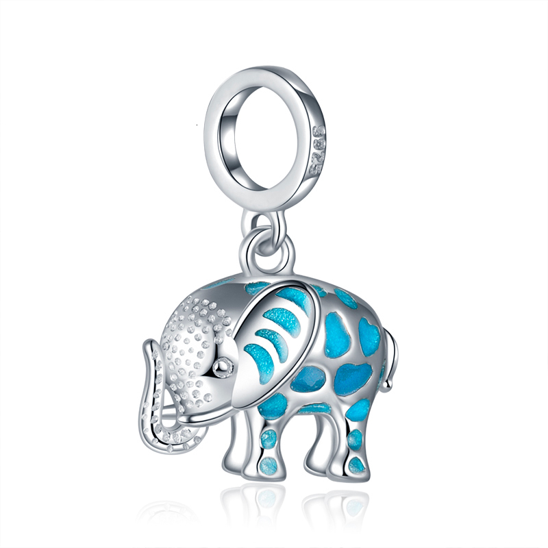 100% 925 sterling silver silver growing elephant animal pendant charms  Fit European Bracelet beads DIY Jewelry for gift 1