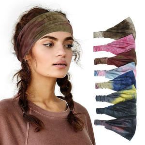 Bohemian Style 1Pcs Tie-dye Headwear Bandana Women Headband Sports Fitness Wide Hair Band Elastic Band Turban Hair Accessories