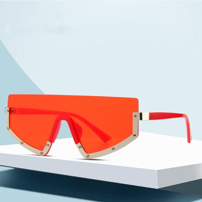 Summer Trendy Sunglasses UV400 Geometric Lens Eyewear Semi-rimless Sun Glasses For Women Men 2020 Streetwear