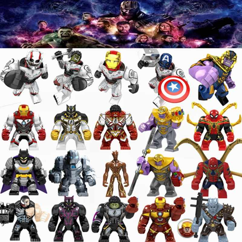 Legoing Marvel Avengers Iron man Thanos Thor Spider man Hulk Antman Venom ตัวเลข Super Heroes อาคารบล็อกของเล่นเด็ก