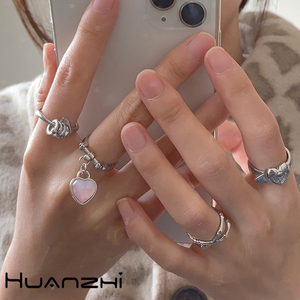 HUANZHI 2020 New Design Vintage Sequins Zircon Love Heart Belt Metal Pendant Rings for Women Party Jewelry Gifts