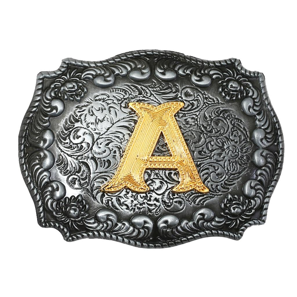 Luxurious Man Belt Buckle Novelty Women Cool Golden Initial Letters ABCDWXY-Z Mens Cowboy Waist Belt Buckle Indian Metal Buckle