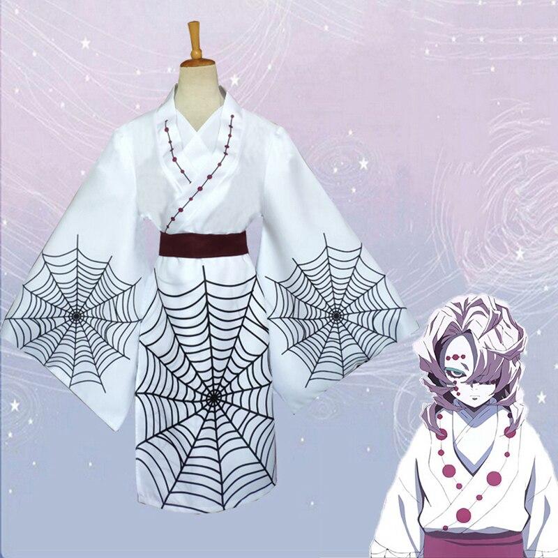 Anime Comic Demon Slayer Kimetsu no Yaiba Cosplay Costumes Rui Cosplay Costume Uniforms White Blade Of Demon White Kimono