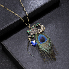 High Quality Women Girl Vintage Peacock Feather Pendant Metal Sweater Long Chain Necklace Party Jewelry Necklaces