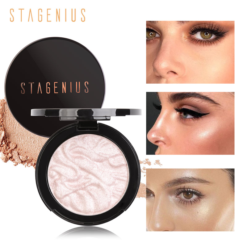 STAGENIUS Highlighter Iluminator Contouring Face Palette Shimmer Powder Brighten Face Makeup Cosmetics image