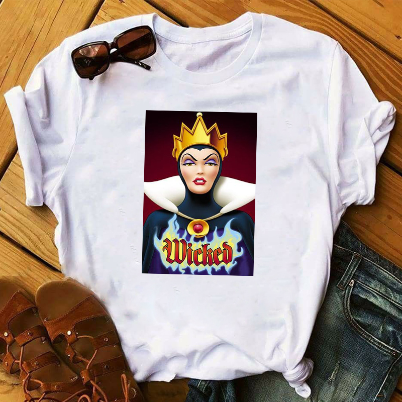 Women 2020 Cartoon Villain Crown Maleficent Queen Print Lady Ladies Graphic Female Womens Top T Shirt T-shirts Tee T-Shirt