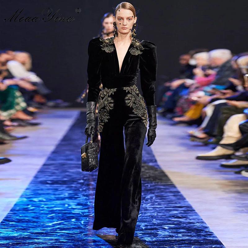 MoaaYina Spring Summer Designer Jumpsuits Women's V neck Long sleeve Gold Line Embroidery Velvet Jumpsuits