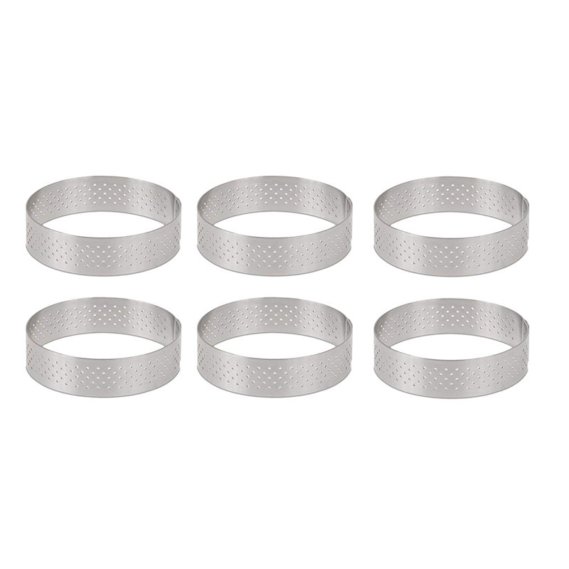 Circular Stainless Steel Porous Tart Ring Bottom Tower Pie Cake Mould Baking ToolsHeat-Resistant Perforated Cake Mousse Ring, 8c