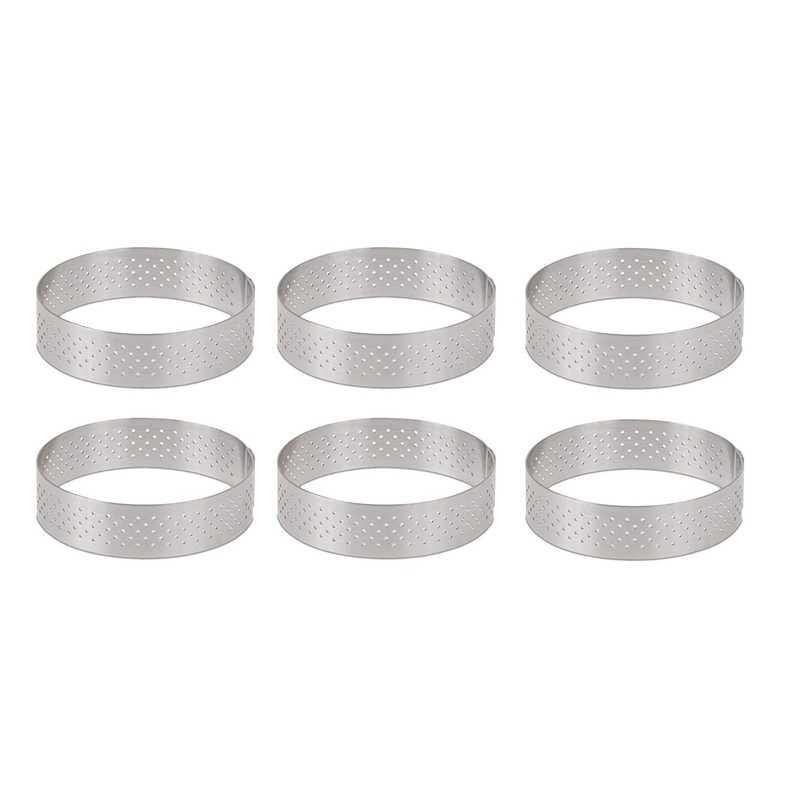 円形ステンレス鋼多孔タルトリングボトムタワーパイケーキ型ベーキングtoolsheat耐穿孔ケーキムースリング、 8c