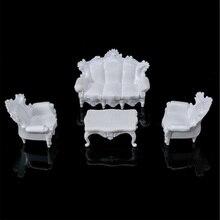 4 шт. белый DIY 1/25 кукольный домик Миниатюрный Гостиная комплект старинных диванов чайный столик набор модель для детей подарок классическая игрушка