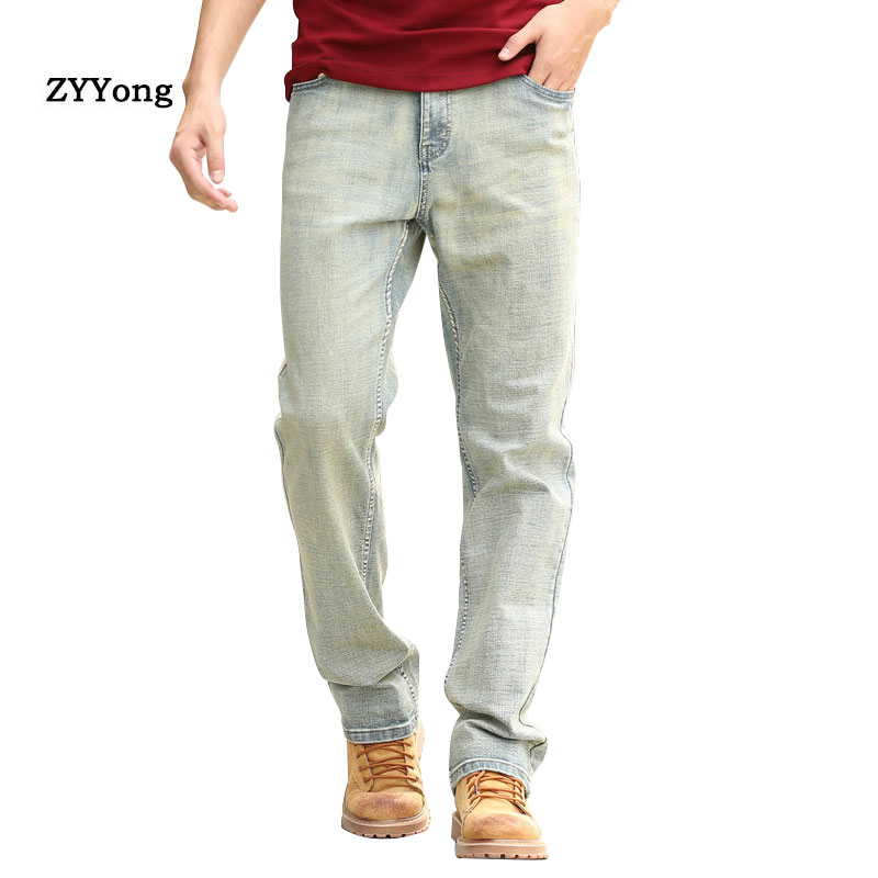 Spring And Autumn Men Jeans Straight Breathable Large Size Baggy  Light Blue Elasticity Denim Pants Hip Hop Skateboarder Trouser