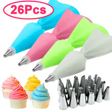 8/26Pcs/Set Silicone Pastry Bag Tips Kitchen Cake Icing Piping Cream Cake Decorating Tools Reusable Pastry Bags+24 Nozzle Set