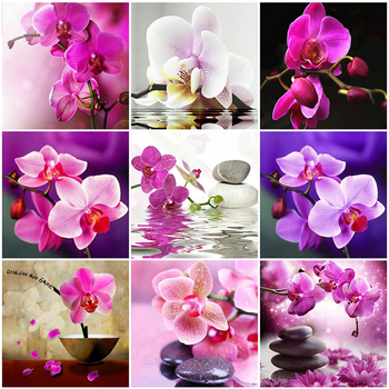 HUACAN 5D Diy Diamond Embroidery Full Square Orchid Cross Stitch Painting Flowers Mosaic Home Decoration Gift - discount item  27% OFF Arts,Crafts & Sewing