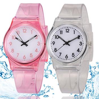 Moda dla dzieci zegarki Casual zegarki dla dzieci przezroczyste Watchband plastikowe zegarki dziewczyny chłopcy zegarki kwarcowe montre enfant tanie i dobre opinie WoMaGe Nie wodoodporne Moda casual Klamra Z tworzywa sztucznego QUARTZ Nie pakiet 15mm 23cm plastic watches 16262 32mm