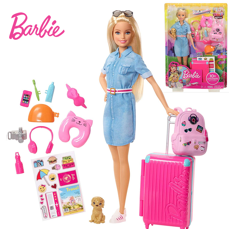Original Barbie Dolls Brand Travel Girl With Puppy Assortment Fashionista Doll Toys For Children Birthday Gift Reborn Bonecas