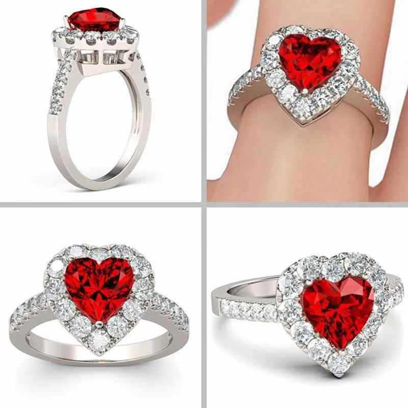 Garnet personalidade vermelha rubi cor vermelha zircão 925 anel de prata amor coração romântico anel de dedo para o casamento feminino jóias bague