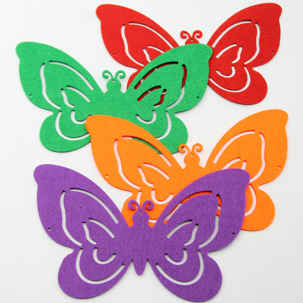 10pc Colorful Big Butterfly Felt Nonwoven Cutting Felts Fabric For Home Child Room Hanging Decoration Kindergarten Wall Stickers