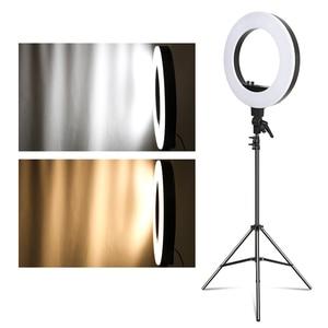 Image 5 - 18 cal fotograficzne LED lampa pierścieniowa z lekki statyw 5500K lampa do nagrań wideo cyfrowy oświetlenie fotograficzne