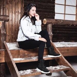 Image 5 - Skrevds النساء أحذية الثلوج الشتاء الأحذية الدافئة سميكة أسفل منصة مقاوم للماء حذاء من الجلد للنساء سميكة الفراء أحذية قطنية حجم