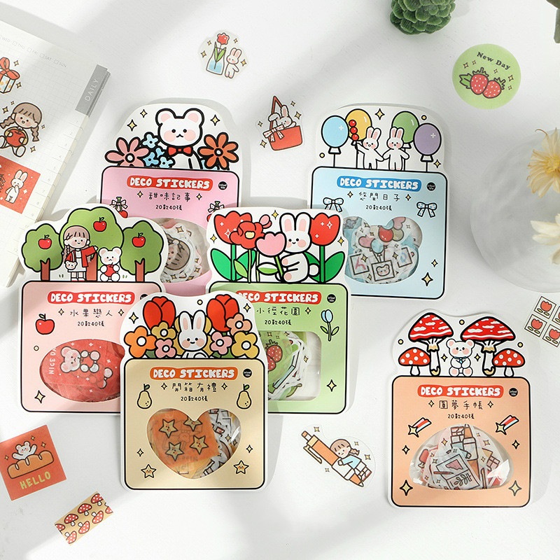 Mohamm 6 Pcs/pack Kawaii Cartoon Mini Rabbit Flower Korea Sticker Flakes Scrapbook Paper Sticker Stationery School Supplies