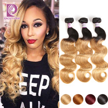 Racily Hair T1B/27 Ombre Brazilian Body Wave Hair Honey Blonde Ombre Human Hair Extensions 1/3/4 Bundles Remy Hair Weave Bundles(China)