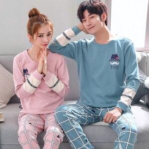 Image 3 - Пижамный комплект для мужчин и женщин, мягкая хлопковая одежда для сна с длинным рукавом и принтом, пикантная весенняя одежда для дома, для пар, подарок