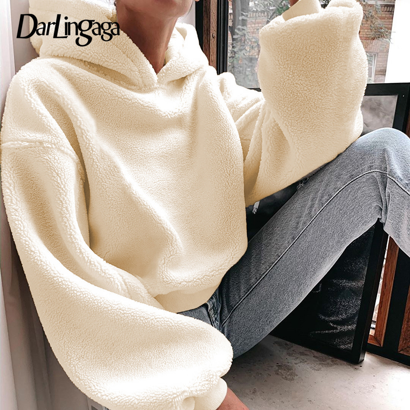 Darlingaga Autumn Winter Lamb Wool Hoodies Women Solid Shaggy Loose Fleece Hoodie Pullover Fashion Warm Women's Sweatshirt Tops