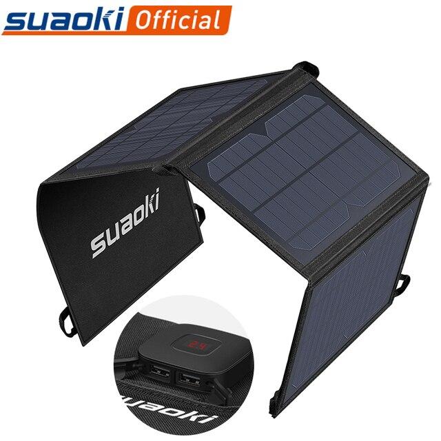 Suaoki 21W 태양 전지 패널 충전기 배터리 접이식 방수 태양 에너지 LED 디스플레이 듀얼 USB 5V/4A 출력 아이폰 X 8 화웨이