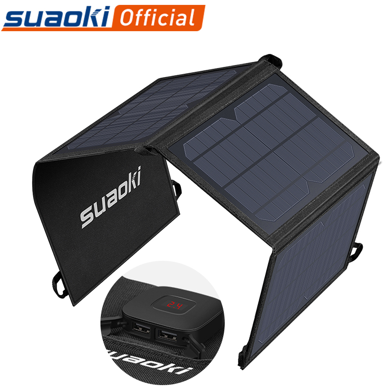 Suaoki 21W Solar Panel Charger Battery Foldable Waterproof Sun Energy LED Display Dual USB 5V/4A Output For IPhone X 8 Huawei