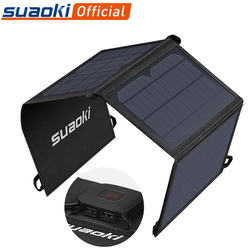 Suaoki 21W Zonnepaneel Lader Batterij Opvouwbare Waterdichte Zon Energie Led Display Dual Usb 5V/4A Uitgang voor Iphone X 8 Huawei