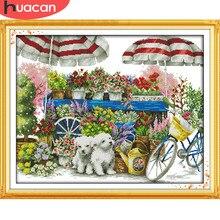 HUACAN broderie paysage compté ensemble bricolage DMC couture point de croix fleur décoration de la maison cadeau 11CT 14CT