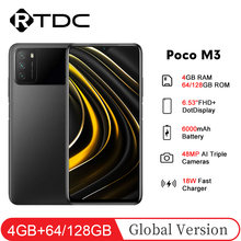 Version mondiale POCO M3 6.53 ''FHD + Snapdragon 662 Octa Core 4GB 64GB/128GB 19.5:9 48MP AI Triple caméra 6000mAh téléphone portable