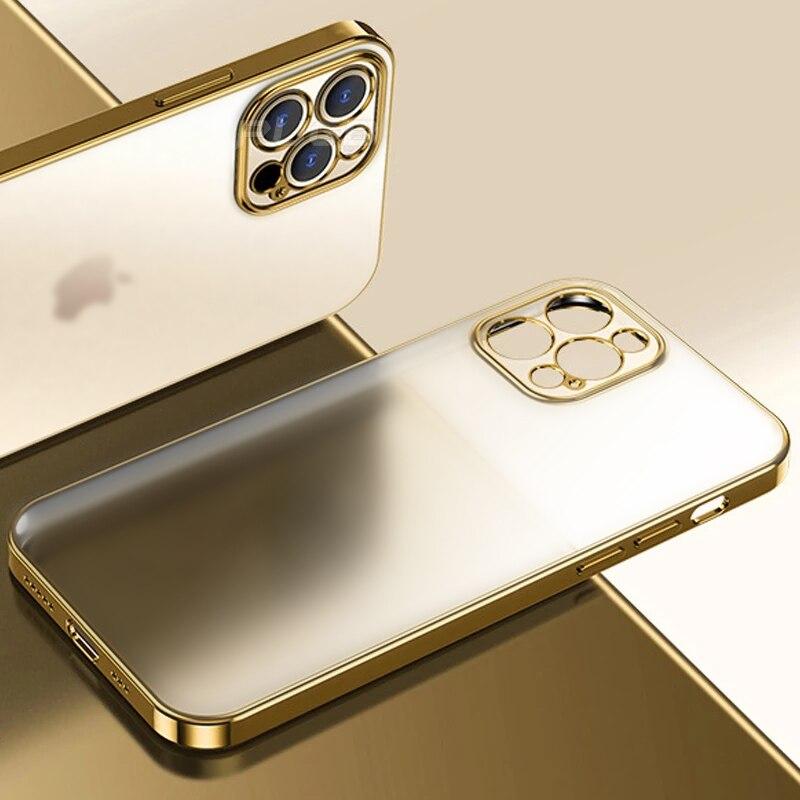 Роскошный Матовый силиконовый чехол с квадратной рамкой и покрытием для iPhone 11 12 Pro Max Mini XR X XS 7 8 Plus SE 2020, мягкий прозрачный чехол