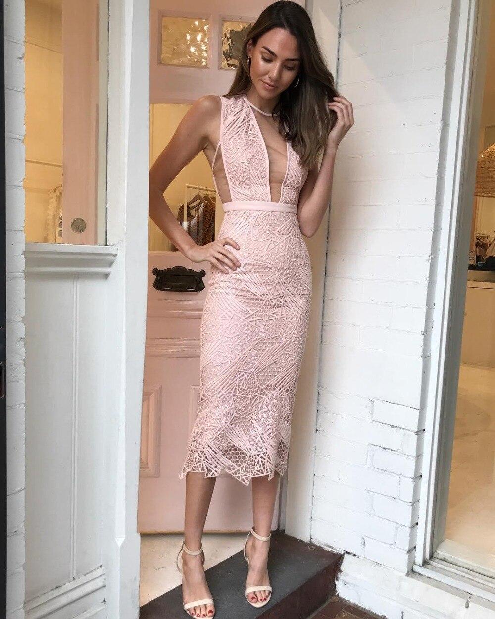 2018 nouvelle mode sexy femmes robe rose réservoir 2 couches dentelle moulante rayonne élégant échantillon célébrité robe de soirée