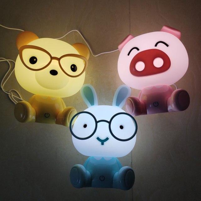 Conejo Led luces de noche cerdo oso lámparas de noche Mini dibujo Animal lámpara de mesa bebé niños regalos dormitorio cabecera luminaria decoración del hogar