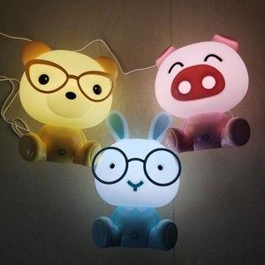 Rabbit Led Night Lights Pig Bear Night Lamps Mini Cartoon Animal Table Lamp Baby Kids Gifts Bedroom Bedside Luminaire Home Decor(China)