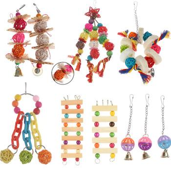 Zabawki dla papug ptaki z drewna stały stojak do żucia zabawki koralik serce kształt gwiazdy papuga zabawka dla ptaka akcesoria do zabawek tanie i dobre opinie CN (pochodzenie)
