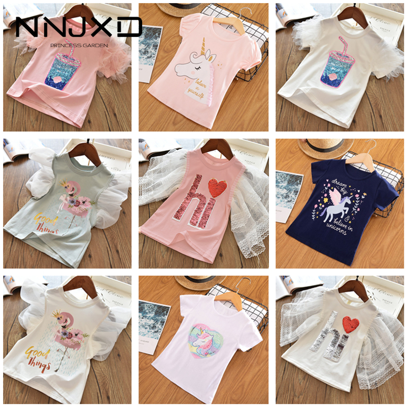 Short Sleeve Summer Girls T-shirts Flamingo Unicorn Cartoon Printing Tops For Baby Girls Clothes Sequined Tshirt 3-8Yrs Toddler