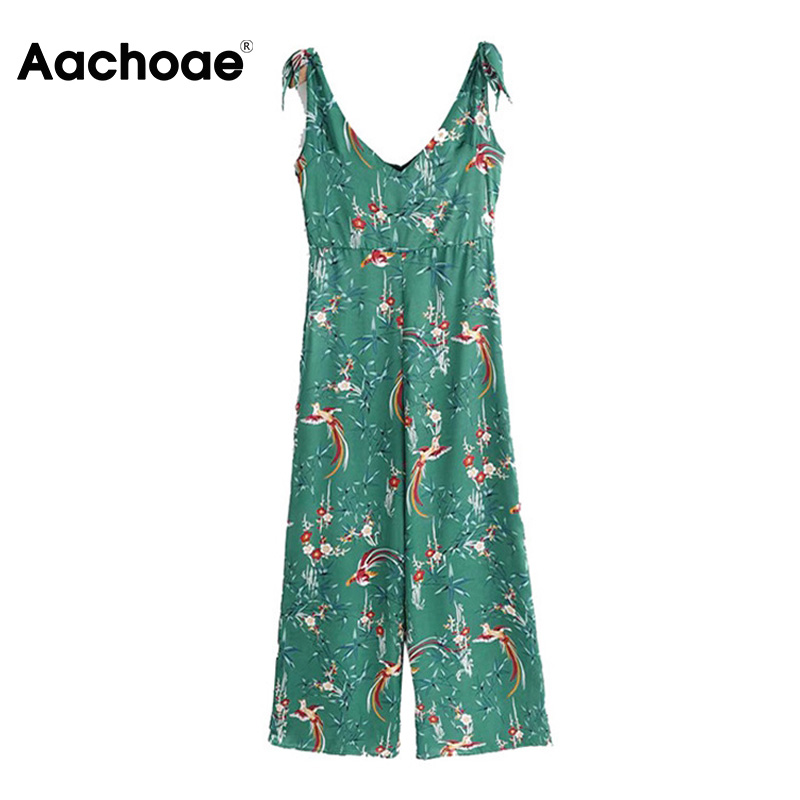 Women Summer Floral Print Jumpsuit Boho Style Bow Tie Wide Leg Playsuits Romper Ladies 2020 Sexy V-neck Holiday Beach Overalls