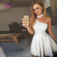 A Line Halter Sleeveless Short Prom Dress White Graduation Party Gowns Simple Black Cocktail Homecoming Dresses 2020