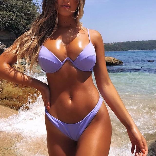 Women's Bikini Solid Set Swimsuit Two Piece Filled Bra Swimwear Beachwear Bathing Suit High Waist Maillot De Bain Femme Biquinis 10